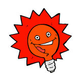 Happy flashing red light bulb comic cartoon Stock Image