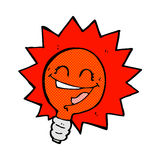 Happy flashing red light bulb comic cartoon Royalty Free Stock Photography