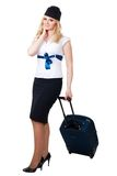Happy flight attendant royalty free stock photo