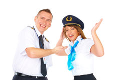 Happy flight crew Stock Image
