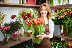 Happy florist Royalty Free Stock Photos