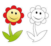 Happy flower. Smiling flower cartoon isolated on white Stock Image
