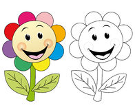 Happy flower. Happy and cheerful flower. The blank version could be used for coloring book pages for kids Stock Images