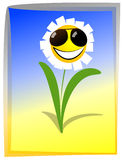 Happy flower. Flower camomile with sun, retro style vector illustration