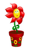 Happy flower in decorated pot Stock Images