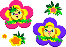 Happy Flower Faces Royalty Free Stock Photography