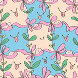 Happy flower fun seamless pattern Stock Photos