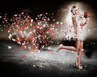 Happy Flower Girl In A Running Love Heart Romance Stock Photos