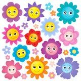 Happy flower heads theme set 1 Stock Photo