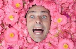 Happy flower man Stock Photography