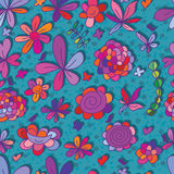 Happy flower small bird seamless pattern Stock Image