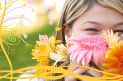 Happy with flowers Royalty Free Stock Photos