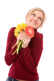 Happy with flowers Royalty Free Stock Photography