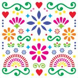 Mexican folk art vector pattern, colorful design with flowers greeting card inspired by traditional designs from Mexico. Happy flowers and abstract shapes, retro royalty free illustration