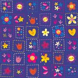 Happy flowers pattern Stock Images