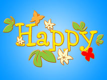 Happy Flowers Represents Joy Bouquet And Fun Royalty Free Stock Images