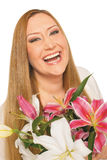 Happy flowers woman xxl overweight Royalty Free Stock Photo