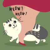 Happy cat and his master owner. Meow text. Happy fluffy fat cat illustration. Home pet rub on legs of his female master owner. Meow meow sign-out text. Flat Royalty Free Stock Photography