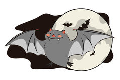 Happy flying bat with full moon, Vector Illustration Stock Photos