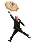 Happy flying businessman Royalty Free Stock Image