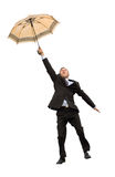 Happy flying businessman Stock Photos