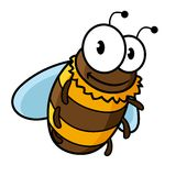 Happy flying cartoon bumble or honey bee Royalty Free Stock Photos