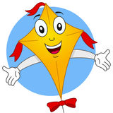 Happy Flying Kite Cartoon Character Stock Photography