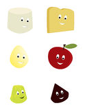 Happy food characters. Happy smiling food characters on a white backgound stock illustration