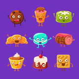 Happy Food Sweets And Sweet Pastry Cartoon Characters With Faces, Hands And Legs Stock Photos