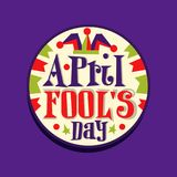 Happy Fool s Day round retro vintage style label. Colorful 1 April greeting card, sticker for mobile messenger app. Flat. Happy Fool s Day round retro vintage royalty free illustration