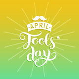 Happy Fools`day greeting card vector illustration. 1st of april background with hand lettering and moustache. Royalty Free Stock Photography