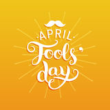 Happy Fools`day greeting card vector illustration. 1st of april background with hand lettering and moustache. Royalty Free Stock Photo