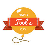 Happy Fools day greeting emblem. Happy Fools day emblem isolated vector illustration on white background. 1 april world comic holiday event label, greeting card stock illustration