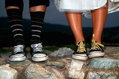 Happy foot. Wedding happy old foot on the rock Stock Images