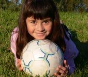 Happy football. A girl who enjoys her football Stock Image