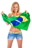 Happy football fan Royalty Free Stock Image