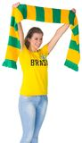 Happy football fan in brasil tshirt Royalty Free Stock Photography