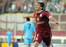 Happy football player celebrates a goal Royalty Free Stock Photography