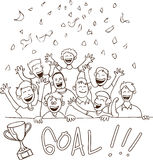 Happy Football Supporters Doodle Stock Photos