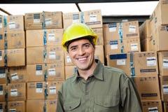 Happy Foreman At Warehouse Royalty Free Stock Photography
