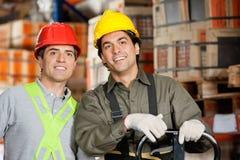 Happy Foreman At Warehouse Stock Photo
