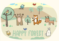 Happy forest and funny animal Stock Photography