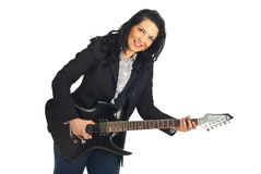 Happy formal guitarist woman Royalty Free Stock Photography