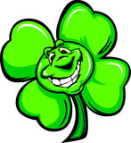 Happy Four Leaf Clover Cartoon with a Big Smile Royalty Free Stock Photos
