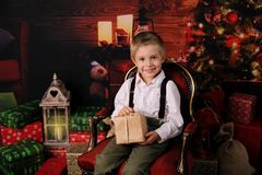 Happy Four Years Old Boy With Christmas Decoration. Royalty Free Stock Photography