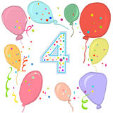 Happy fourth birthday. Colorful balloon greeting card Royalty Free Stock Image