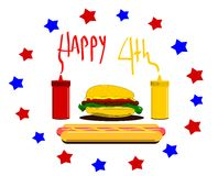 Happy fourth  design with hamburger and condiments. Happy fourth of july design with hamburger and condiments Royalty Free Stock Images