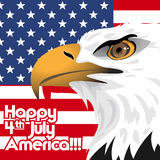 Happy fourth of july America, independence day card, with a big eagle and flag Royalty Free Stock Photo