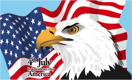 Happy fourth of july America, independence day card, with a big eagle and flag Royalty Free Stock Photos
