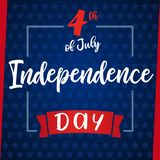 Independence Day of USA 4th of July, blue stars greeting card Stock Photo